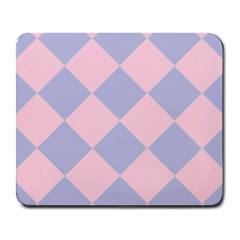 Harlequin Diamond Argyle Pastel Pink Blue Large Mouse Pad (rectangle) by CrypticFragmentsColors