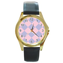 Harlequin Diamond Argyle Pastel Pink Blue Round Leather Watch (gold Rim)  by CrypticFragmentsColors