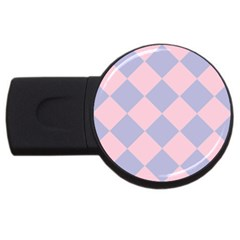 Harlequin Diamond Argyle Pastel Pink Blue 2gb Usb Flash Drive (round) by CrypticFragmentsColors