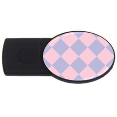 Harlequin Diamond Argyle Pastel Pink Blue 2gb Usb Flash Drive (oval) by CrypticFragmentsColors