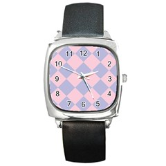 Harlequin Diamond Argyle Pastel Pink Blue Square Leather Watch