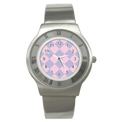 Harlequin Diamond Argyle Pastel Pink Blue Stainless Steel Watch (slim) by CrypticFragmentsColors