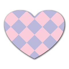 Harlequin Diamond Argyle Pastel Pink Blue Mouse Pad (heart) by CrypticFragmentsColors
