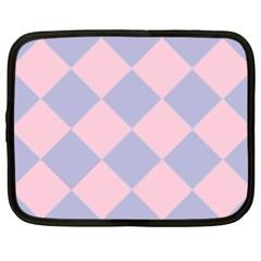 Harlequin Diamond Argyle Pastel Pink Blue Netbook Sleeve (xxl) by CrypticFragmentsColors