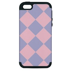 Harlequin Diamond Argyle Pastel Pink Blue Apple Iphone 5 Hardshell Case (pc+silicone) by CrypticFragmentsColors