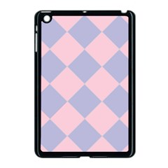 Harlequin Diamond Argyle Pastel Pink Blue Apple Ipad Mini Case (black) by CrypticFragmentsColors