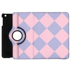 Harlequin Diamond Argyle Pastel Pink Blue Apple Ipad Mini Flip 360 Case by CrypticFragmentsColors