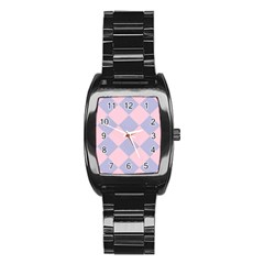 Harlequin Diamond Argyle Pastel Pink Blue Stainless Steel Barrel Watch by CrypticFragmentsColors