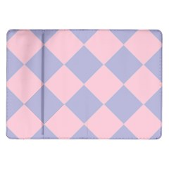 Harlequin Diamond Argyle Pastel Pink Blue Samsung Galaxy Tab 10 1  P7500 Flip Case by CrypticFragmentsColors