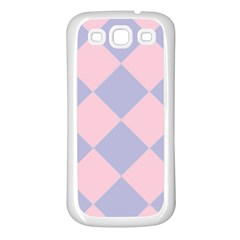 Harlequin Diamond Argyle Pastel Pink Blue Samsung Galaxy S3 Back Case (white) by CrypticFragmentsColors