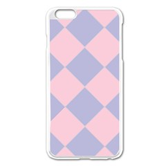 Harlequin Diamond Argyle Pastel Pink Blue Apple Iphone 6 Plus Enamel White Case by CrypticFragmentsColors
