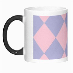 Harlequin Diamond Argyle Pastel Pink Blue Morph Mug by CrypticFragmentsColors