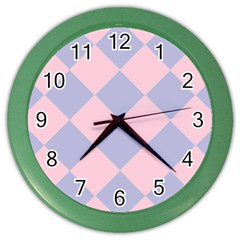 Harlequin Diamond Argyle Pastel Pink Blue Wall Clock (color) by CrypticFragmentsColors