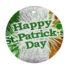 Happy St  Patricks Day Grunge Style Design Round Ornament by dflcprints