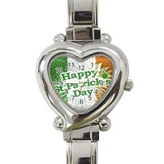 Happy St  Patricks Day Grunge Style Design Heart Italian Charm Watch  by dflcprints