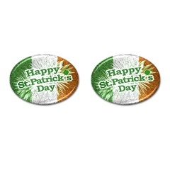 Happy St  Patricks Day Grunge Style Design Cufflinks (oval) by dflcprints