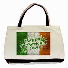 Happy St  Patricks Day Grunge Style Design Twin Sided Black Tote Bag by dflcprints