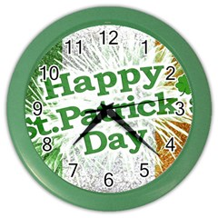 Happy St  Patricks Day Grunge Style Design Wall Clock (color) by dflcprints