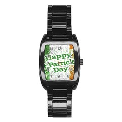 Happy St  Patricks Day Grunge Style Design Stainless Steel Barrel Watch by dflcprints
