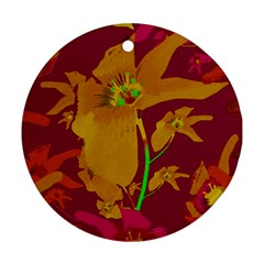 Tropical Hawaiian Style Lilies Collage Round Ornament by dflcprints