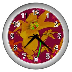 Tropical Hawaiian Style Lilies Collage Wall Clock (silver) by dflcprints