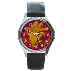 Tropical Hawaiian Style Lilies Collage Round Leather Watch (silver Rim) by dflcprints