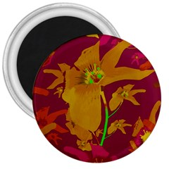Tropical Hawaiian Style Lilies Collage 3  Button Magnet by dflcprints