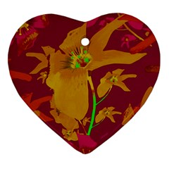 Tropical Hawaiian Style Lilies Collage Heart Ornament by dflcprints