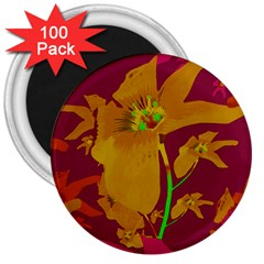 Tropical Hawaiian Style Lilies Collage 3  Button Magnet (100 Pack) by dflcprints
