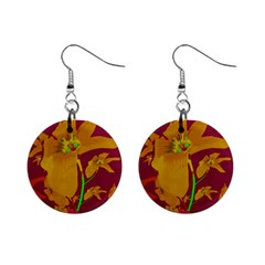 Tropical Hawaiian Style Lilies Collage Mini Button Earrings by dflcprints
