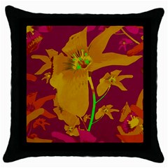 Tropical Hawaiian Style Lilies Collage Black Throw Pillow Case by dflcprints