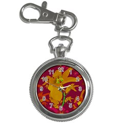 Tropical Hawaiian Style Lilies Collage Key Chain Watch by dflcprints