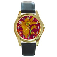 Tropical Hawaiian Style Lilies Collage Round Leather Watch (gold Rim)  by dflcprints
