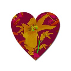 Tropical Hawaiian Style Lilies Collage Magnet (heart) by dflcprints