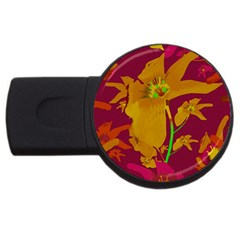 Tropical Hawaiian Style Lilies Collage 2gb Usb Flash Drive (round) by dflcprints