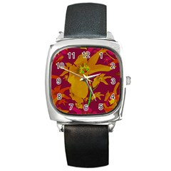Tropical Hawaiian Style Lilies Collage Square Leather Watch by dflcprints