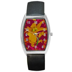 Tropical Hawaiian Style Lilies Collage Tonneau Leather Watch by dflcprints