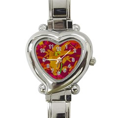 Tropical Hawaiian Style Lilies Collage Heart Italian Charm Watch  by dflcprints