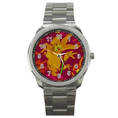 Tropical Hawaiian Style Lilies Collage Sport Metal Watch by dflcprints