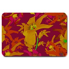Tropical Hawaiian Style Lilies Collage Large Door Mat by dflcprints