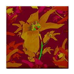 Tropical Hawaiian Style Lilies Collage Face Towel by dflcprints