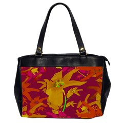 Tropical Hawaiian Style Lilies Collage Oversize Office Handbag (two Sides) by dflcprints