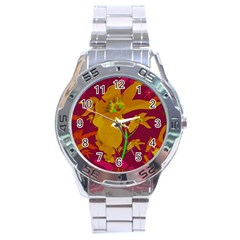 Tropical Hawaiian Style Lilies Collage Stainless Steel Watch by dflcprints