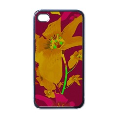 Tropical Hawaiian Style Lilies Collage Apple Iphone 4 Case (black) by dflcprints