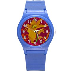 Tropical Hawaiian Style Lilies Collage Plastic Sport Watch (small) by dflcprints