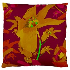 Tropical Hawaiian Style Lilies Collage Large Cushion Case (single Sided)  by dflcprints