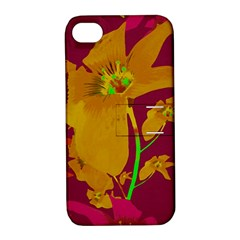 Tropical Hawaiian Style Lilies Collage Apple Iphone 4/4s Hardshell Case With Stand by dflcprints