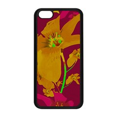 Tropical Hawaiian Style Lilies Collage Apple Iphone 5c Seamless Case (black) by dflcprints