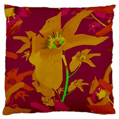 Tropical Hawaiian Style Lilies Collage Large Flano Cushion Case (two Sides) by dflcprints