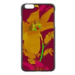 Tropical Hawaiian Style Lilies Collage Apple Iphone 6 Plus Black Enamel Case by dflcprints